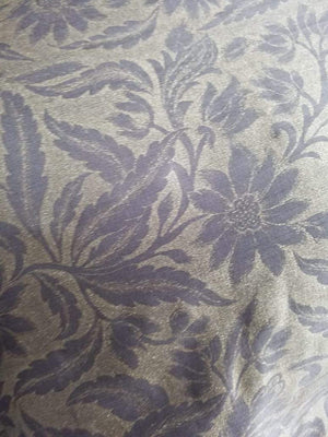 Floral Leaf Pattern Gold Printed Linen Satin Fabric - Zooomberg