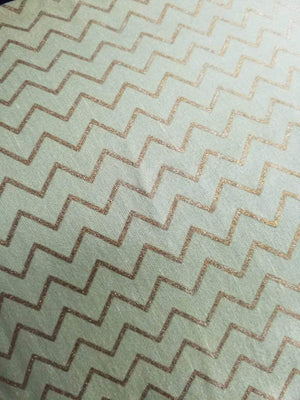 Zig Zag Pattern Gold Printed Linen Satin Fabric - Zooomberg