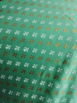 Pastel Floral Pattern Discharge Foil Printed Cotton Satin Fabric