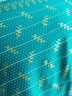 Abstract Leaf Seamless Dots Stripes Pattern Discharge Foil Printed Cotton Satin Fabric - Zooomberg