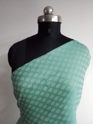 Teal Butti Pattern Jacquard Linen Satin Fabric - Zooomberg
