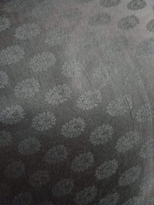 Black Butti Pattern Jacquard Linen Satin Fabric - Zooomberg