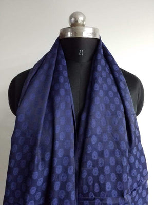 Dark Blue Butti Pattern Jacquard Linen Satin Fabric