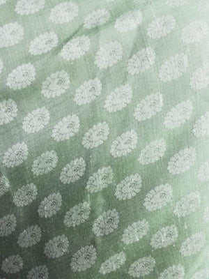 Parrot Green Butti Pattern Jacquard Linen Satin Fabric - Zooomberg