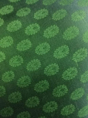 Green Butti Pattern Jacquard Linen Satin Fabric - Zooomberg