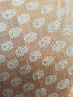 Light Orange Butti Pattern Jacquard Linen Satin Fabric - Zooomberg