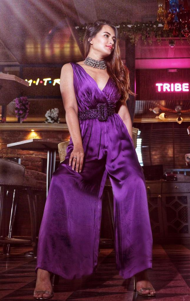 Purple Overlap V Neck Jumpsuit with Hand Embellished Belt