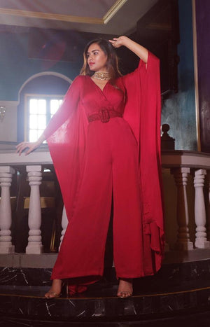 Red Kaftan Jumpsuit with Hand Embellished Belt