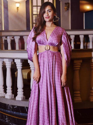 Purple Cut Cowl Sleeve O-Ring Dress