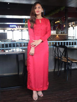 Red Embroidered Yoke Straight Kurta with Palazzo Pants