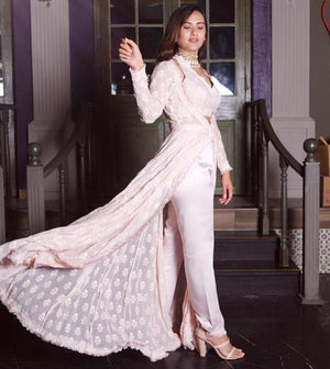 Powder Pink Embroidered Jacket with Halter Neck Bustier and Cigarette Pants