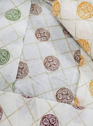 Cotton Mulmul Gota Patti Work Embroidery Fabric - Zooomberg