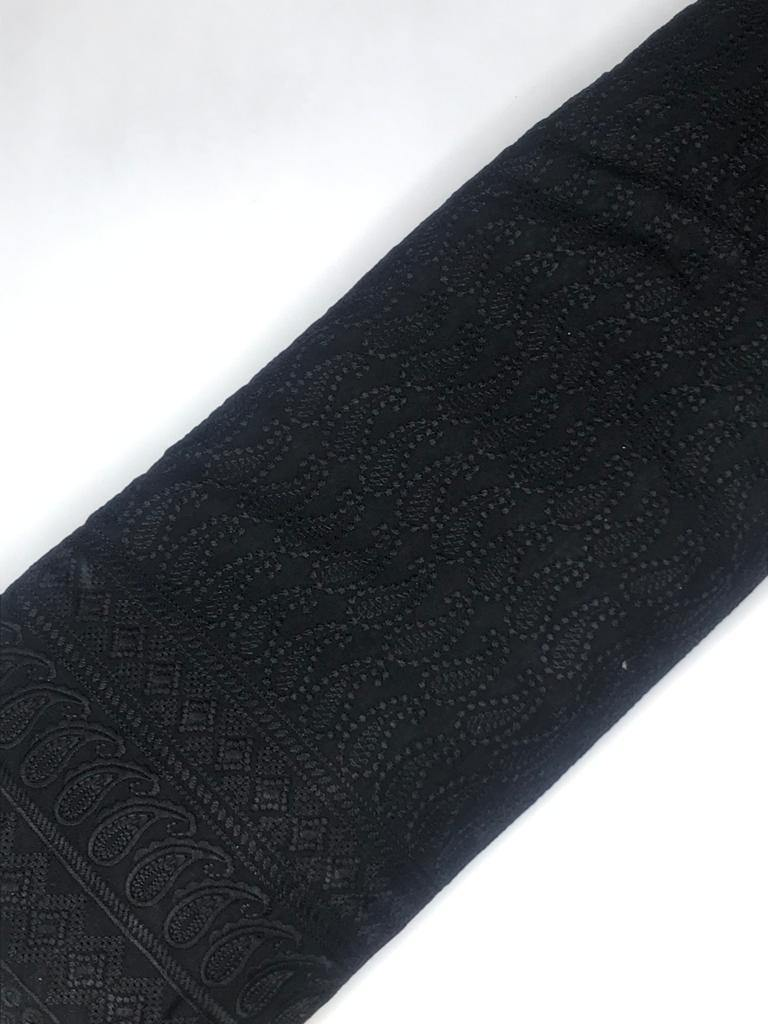 Black Rayon Palazzo Embroidery Fabric with One Side Border