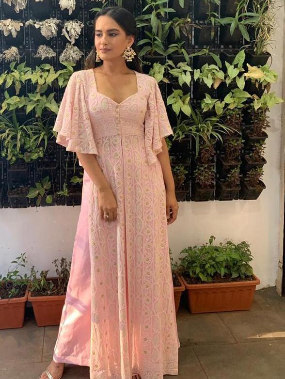 Pink Chikankari Long Kurti With Flared Sleeve & Palazzo Pants