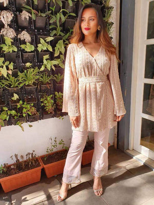 Nude Chikankari Overlap Tunic With Cigerette Pants - Two Piece Outfits - Zooomberg - Zoomberg