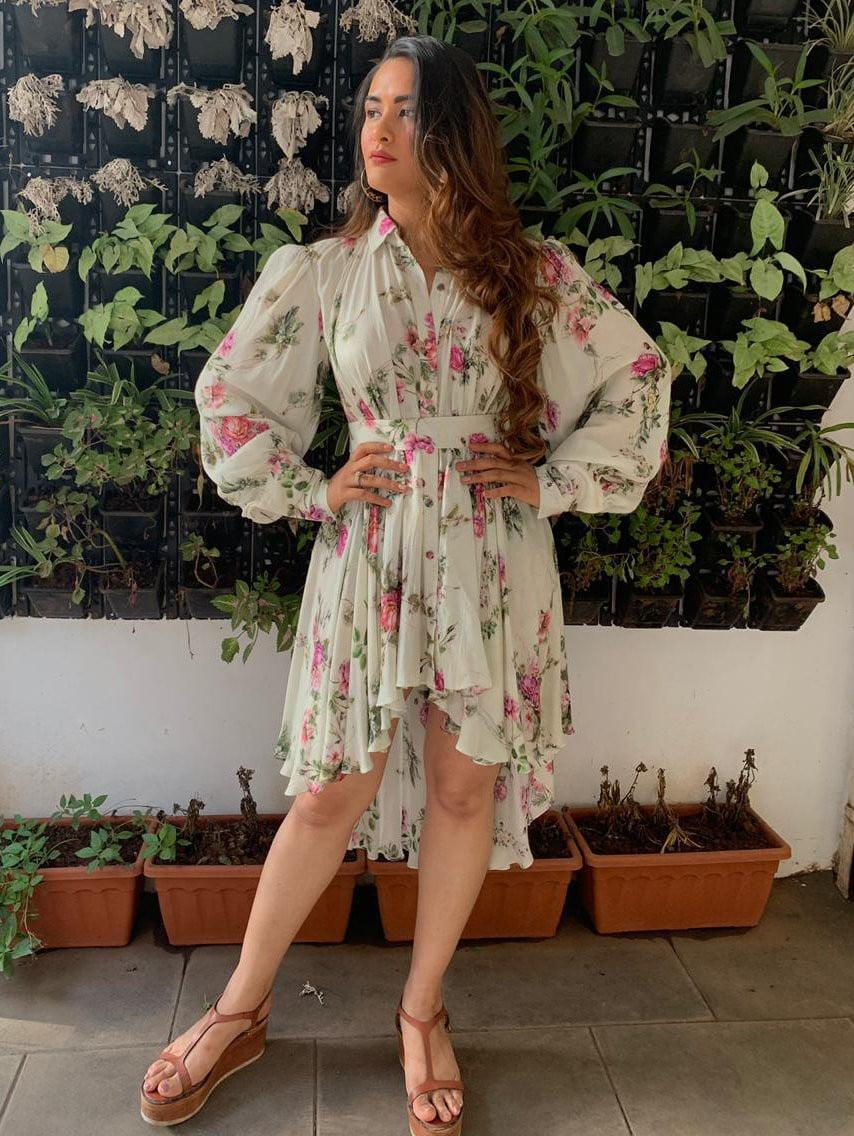 Floral Printed High Low Shirt Dress - Tops - Zooomberg - Zoomberg