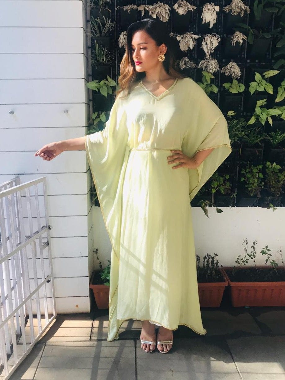 Crepe Kaftan With Katdana Edging - kaftan dress - Zooomberg - Zoomberg