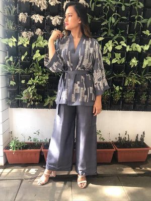 Wrap Kimono Top With Straight Palazzo Pants - Two Piece Outfits - Zooomberg - Zoomberg