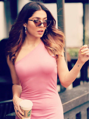 Pink One Shoulder Bodycon Dress - Dresses - Zooomberg - Zoomberg