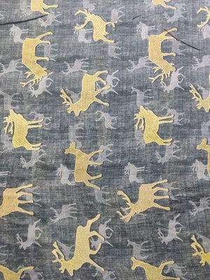 Pure Viscose Mulmul Digital Deer Printed Fabric