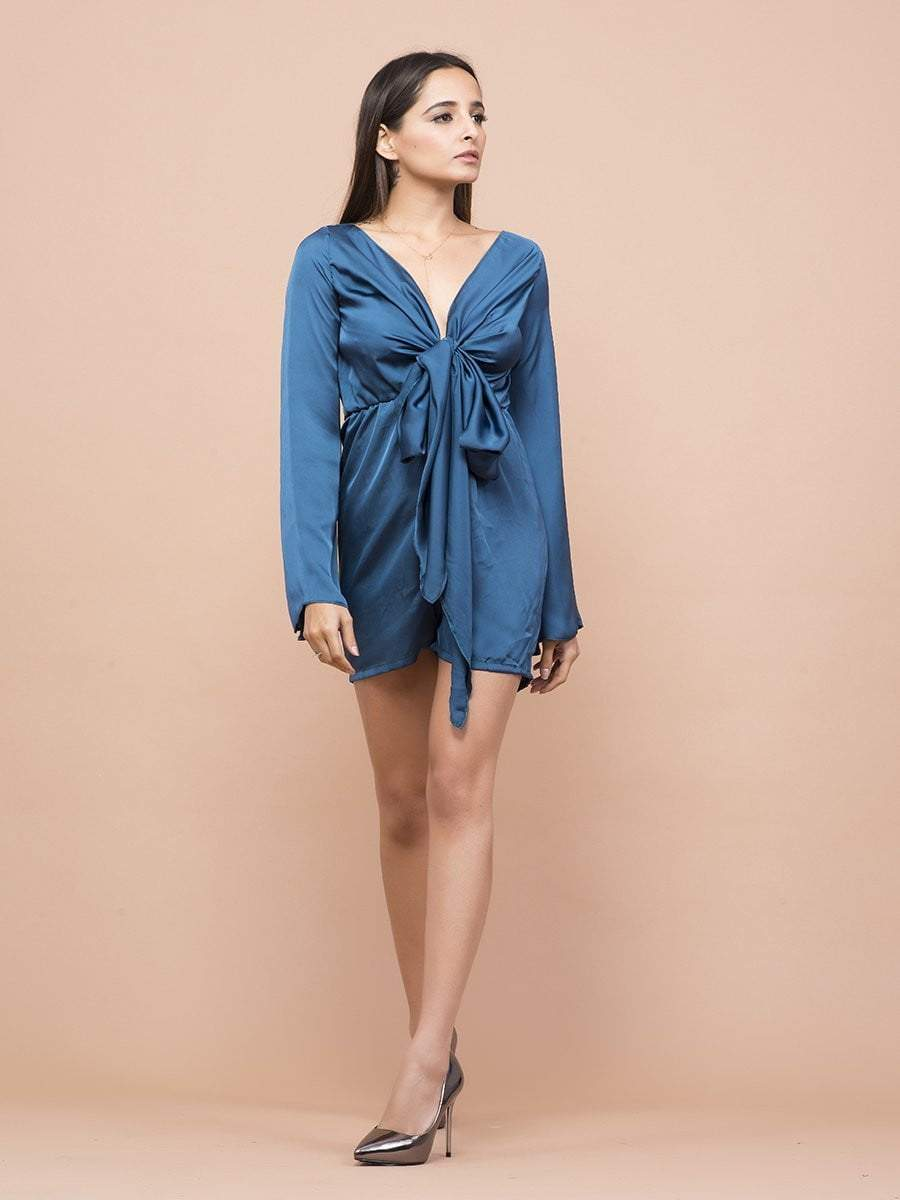 Teal Blue Satin Knotted Rompers - zooomberg