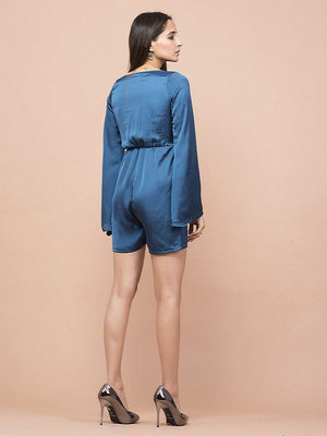 Teal Blue Satin Knotted Rompers - Jumpsuits - Zooomberg - Zoomberg