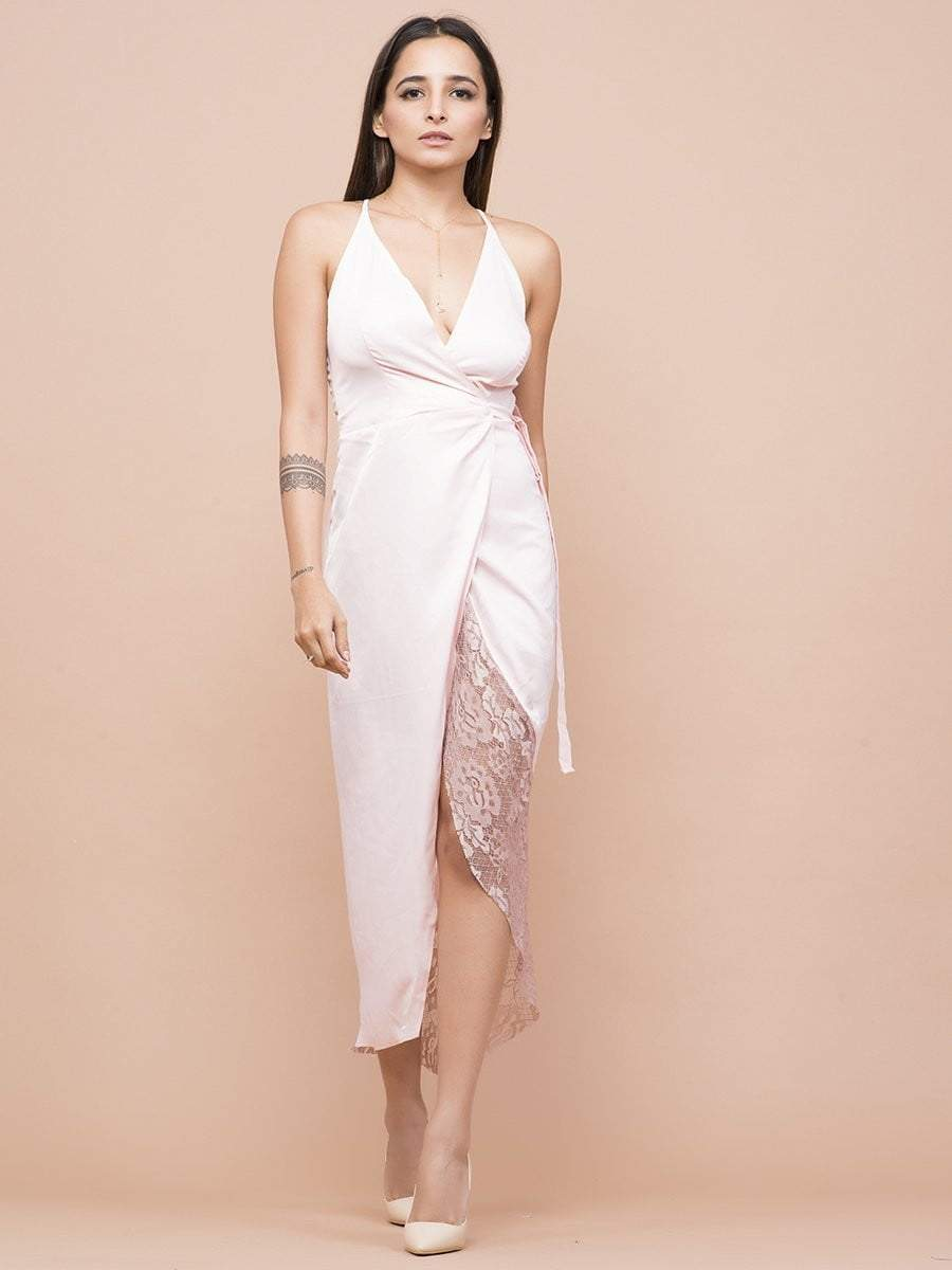 Pale Pink Wrap Tulip Dress - zooomberg