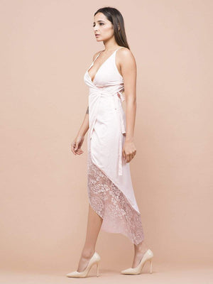 Get Pale Pink Wrap Tulip Dress with RS. 1650.00