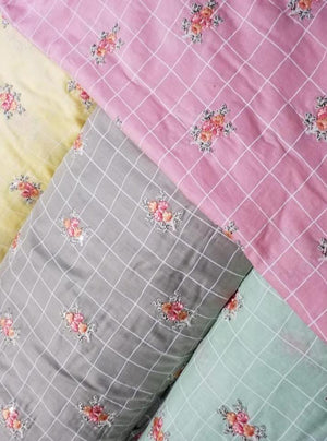 Cotton Mulmul Checkered Embroidery Fabric