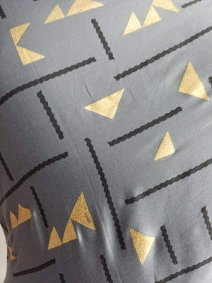 Geometric Pattern Discharge Foil Printed Cotton Satin Fabric