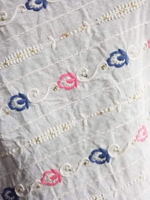 Cotton Floral Chain Embroidery Fabric with Gold Sequins