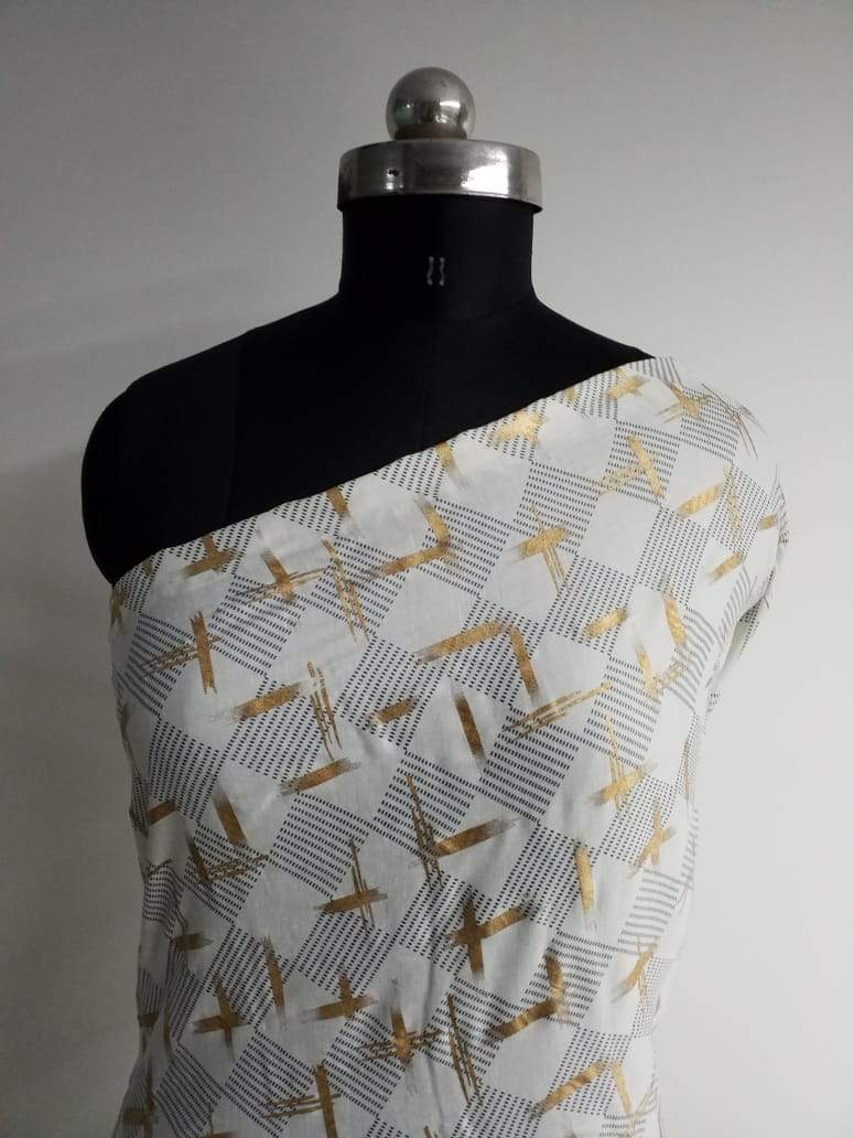 Geometric Pattern Gold Discharge Printed Linen Satin Fabric - Zooomberg