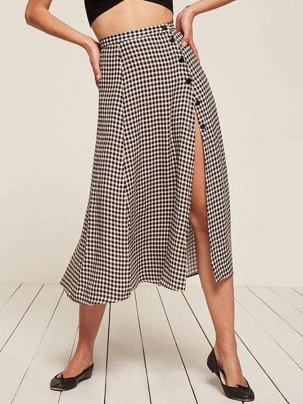 Elegant Plaid Split Side Summer Midi Skirt