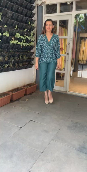 Teal Green Batwing Sleeves Top With Culottes