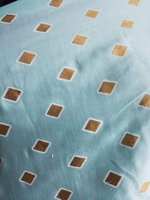 Diamond Pattern Gold Discharge Printed Linen Satin Fabric