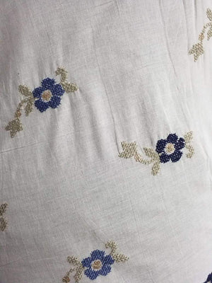 Cotton Floral Embroidery Fabric with Gold Sequins - Zooomberg