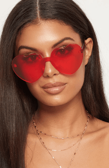 Red Poppy Color Heart Shaped Rimless Sunglasses