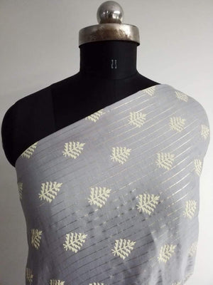 Floral Pattern Khadi Printed Linen Satin Fabric With Gold Foil