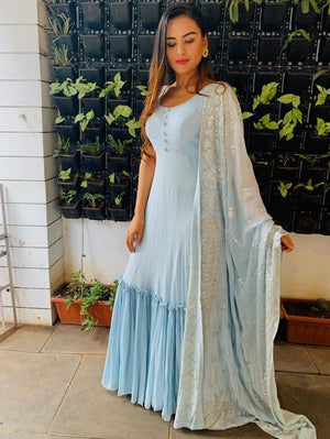 Pastel blue long Dress with gathered hem and embellished dupatta - Two Piece Outfits - Zooomberg - Zoomberg