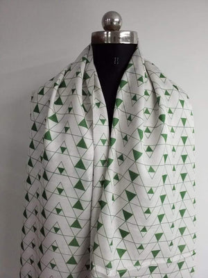 Geometrical Pattern Printed Linen Satin Fabric - Zooomberg