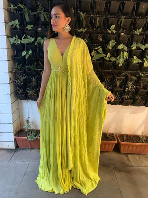 fluorescent yellow long tiered dress with embroidered dupatta - Two Piece Outfits - Zooomberg - Zoomberg