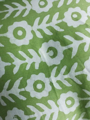 Cotton Satin Floral Hand Block Printed Fabric