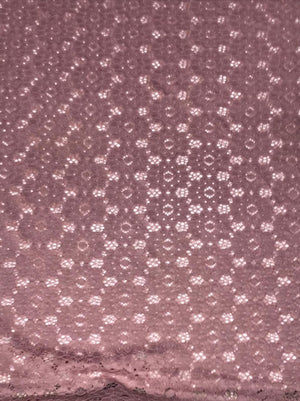 Imported Pink Floral Lace Fabric (Width - 58 Inches)
