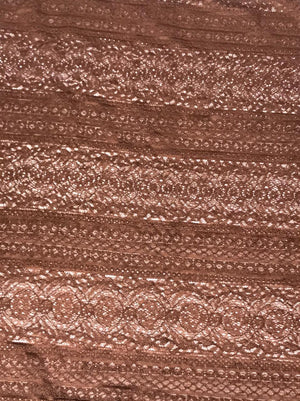 Imported Brown Floral Lace Fabric (Width - 58 Inches)