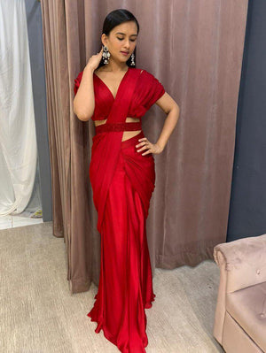 Red Satin Pleated Blouse With Pleated Drape Saree And Embellished Belt - Two Piece Outfits - Zooomberg - Zoomberg