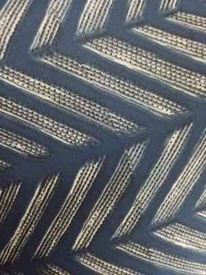 Dark Zig Zag Stripe Printed Georgette Fabric - Zooomberg