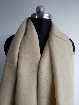 Khaki Plain Dyed Linen Textured Fabric - Zooomberg