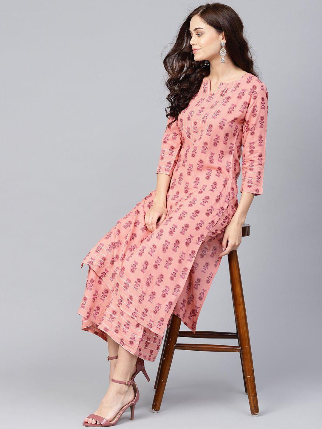 Women Pink Printed Kurta with Palazzos - zooomberg