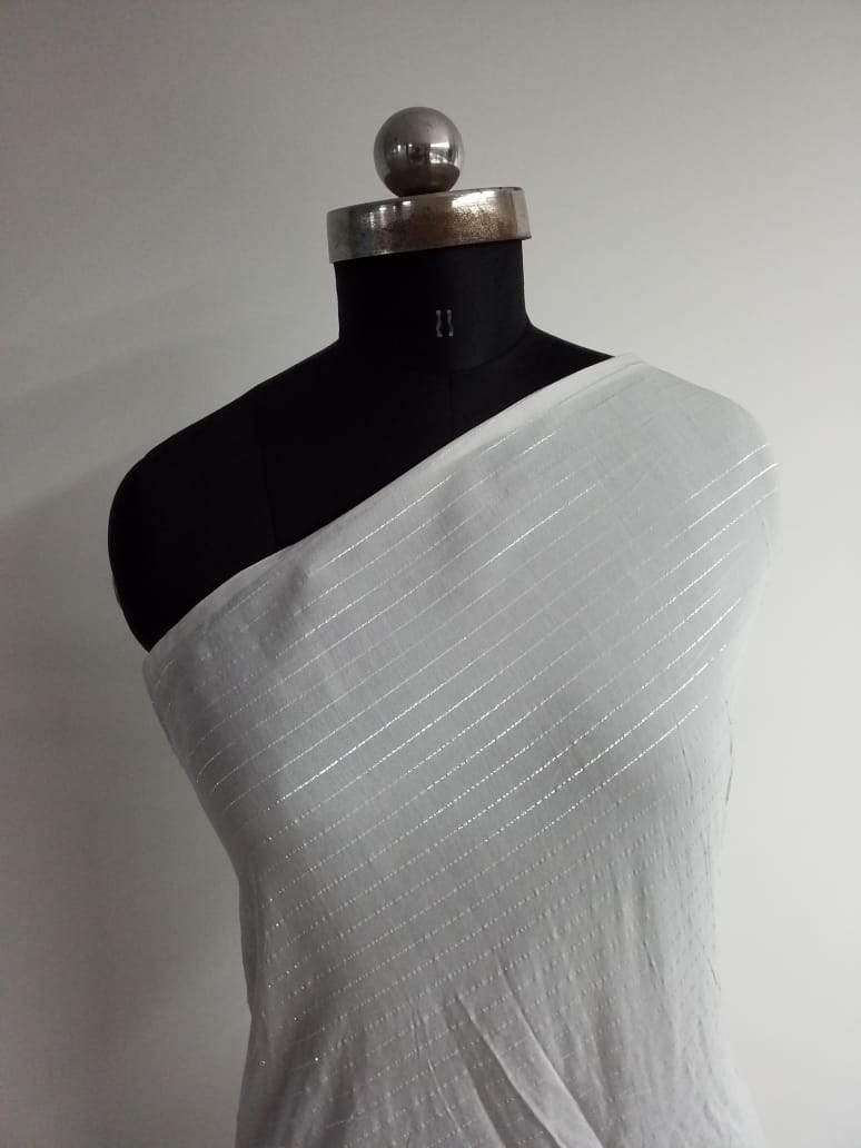 (Pre-Cut)Dyeable Viscose Muslin White Plain Fabric With Silver Lurex