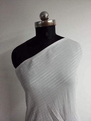(Cut Piece 2.5 Mtrs) Dyeable Viscose Muslin White Plain Fabric With Silver Lurex